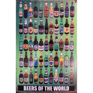 Ceduľa Beers of the world 30cm x 20cm Plechová tabuľa