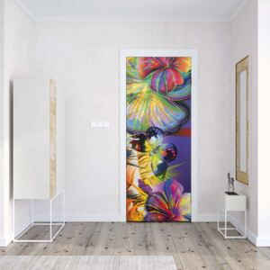 GLIX Fototapeta na dvere - Colourful Butterflies And Flowers
