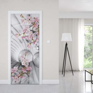 GLIX Fototapeta na dvere - Modern 3D Flowers And Bubbles Tunnel View