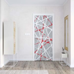 GLIX Fototapeta na dvere - Modern White Red Grey String Design