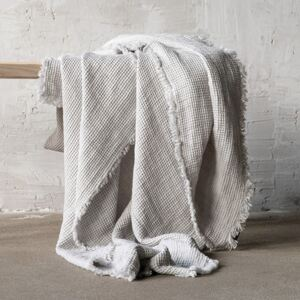 LinenMe Silver Linen Throw with Fringes Washed Waffle