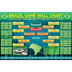 Plagát, Obraz - World cup - Wallchart 2014, (91,5 x 61 cm)