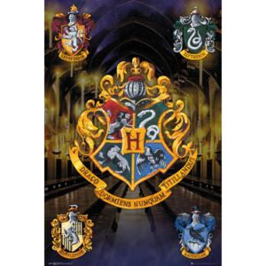 Plagát, Obraz - Harry Potter - Crests, (61 x 91,5 cm)