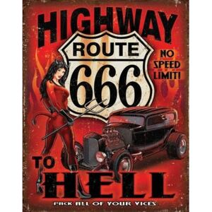 Plechová ceduľa Route 666 - Highway to Hell, (30 x 42 cm)