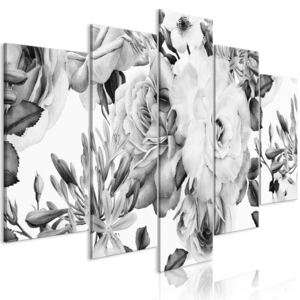 Obraz - Rose Composition (5 Parts) Wide Black and White 100x50