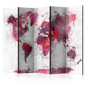 Paraván - World Map: Red Watercolors II [Room Dividers] 225x172
