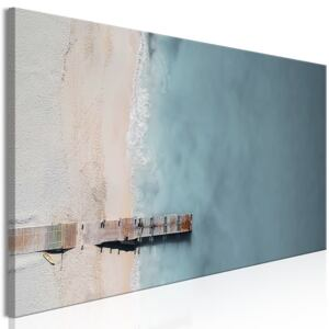 Obraz - Sea and Wooden Bridge (1 Part) Narrow Grey 135x45