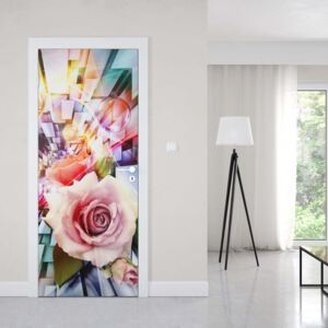 GLIX Fototapeta na dvere - Roses 3D Illustion Modern Multicoloured Design