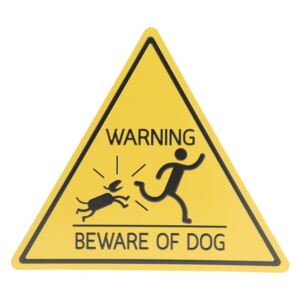 Žltá kovová ceduľa WARNINIG Beware OF DOG - 30 * 34 cm