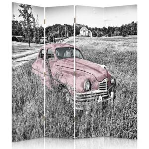 CARO Paraván - A Pink Car In The Field | štvordielny | jednostranný 145x150 cm