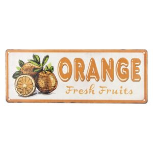 Farebná kovová ceduľa ORANGE FRESH FRUITS - 40 * 15 cm