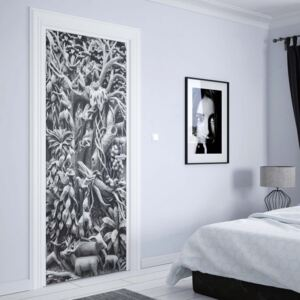 GLIX Fototapeta na dvere - 3D Carved Wood Jungle Elephants Black And White