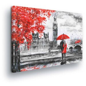 GLIX Obraz na plátne - Red-gray Big Ben 4 x 30x80 cm