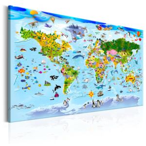 Obraz - Children's Map: Colourful Travels 90x60