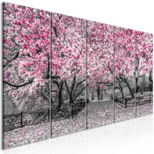 Obraz - Magnolia Park (5 Parts) Narrow Pink 225x90