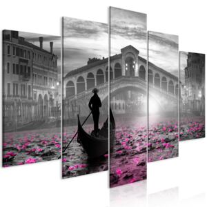 Obraz - Magic Venice (5 Parts) Wide Grey 100x50