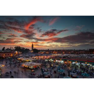 Sunset over Jemaa Le Fnaa Square in Marrakech, Morocco, (128 x 85 cm)