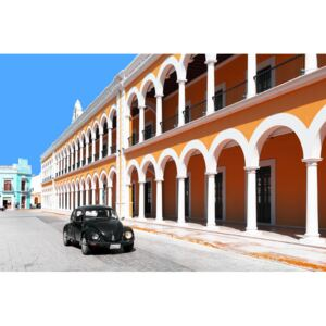 Black VW Beetle and Orange Architecture in Campeche, (128 x 85 cm)