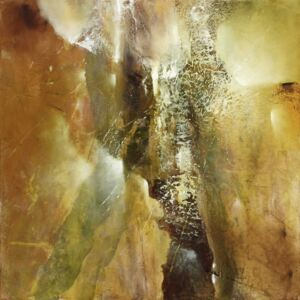 Abstract composition in green and brown, (128 x 128 cm)