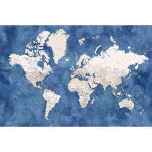 Blue and beige watercolor detailed world map, (128 x 85 cm)