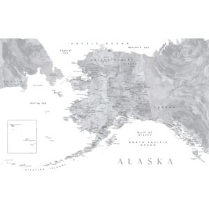 Detailed map of Alaska in grayscale watercolor, (128 x 85 cm)