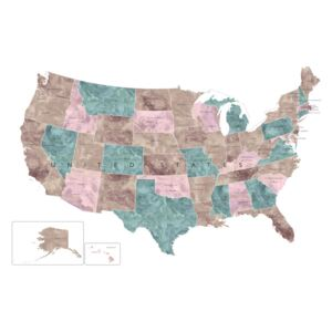 Muted watercolor map of the US with state capitals, (128 x 85 cm)