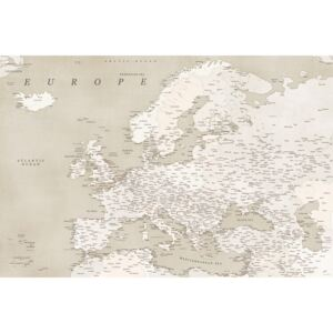 Sepia vintage detailed map of Europe, (128 x 85 cm)