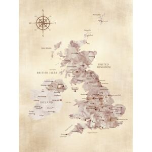 Sepia distressed map of the British Islands, (96 x 128 cm)