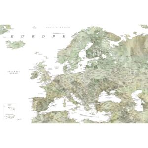 Detailed map of Europe in green watercolor, (128 x 85 cm)