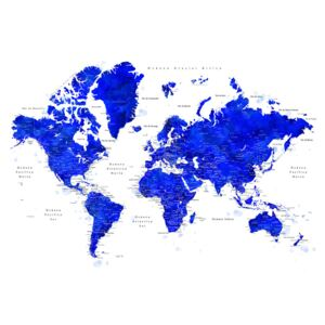 World map with labels in Spanish, cobalt blue watercolor, (128 x 85 cm)