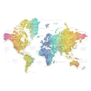 World map with labels in Spanish, rainbow watercolor, (128 x 85 cm)