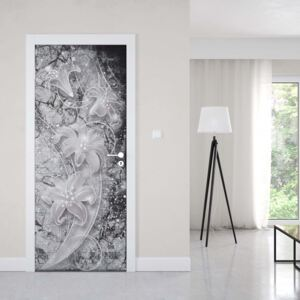 GLIX Fototapeta na dvere - 3D Ornamental Floral Design Black And Grey