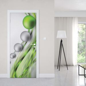 GLIX Fototapeta na dvere - Modern Abstract 3D Design Silver And Green