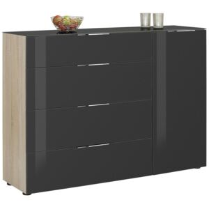 KOMODA HIGHBOARD, antracitová, dub sonoma, 136/100/40 cm Novel