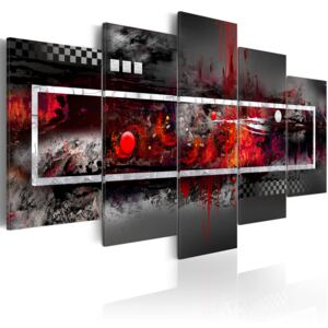 Obraz - A grey vision with red accents 100x45