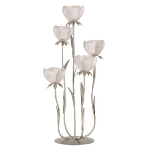 TEALIGHT HOLDER STANDING 5 FLOWERS GLASS PINK - 25,5*29*54,5 cm
