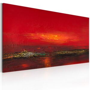 Bimago Ručne maľovaný obraz - Red sunset over the sea 120x60 cm