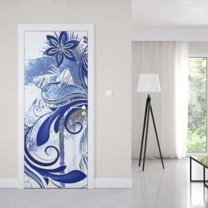 GLIX Fototapeta na dvere - Flowers And Swirls Abstract Art Blue And Grey