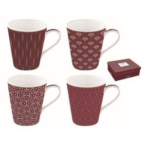 Hrnček porcelánový, set 4ks 260ml, krabička, Coffee Mania Damask