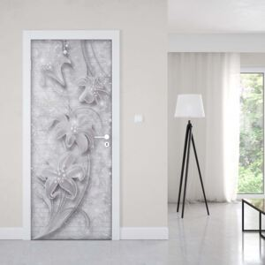 GLIX Fototapeta na dvere - 3D Ornamental Floral Design Grey And White