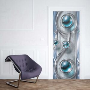 GLIX Fototapeta na dvere - Luxury 3D Silver And Blue Ornamental Design
