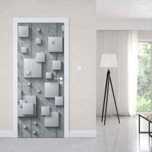 GLIX Fototapeta na dvere - Abstract 3D Design Squares Concrete