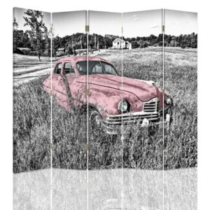 CARO Paraván - A Pink Car In The Field | päťdielny | jednostranný 180x150 cm