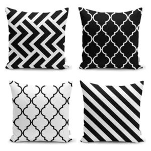 Sada 4 obliečok na vankúše Minimalist Cushion Covers BW Graphic Patterns, 45 x 45 cm
