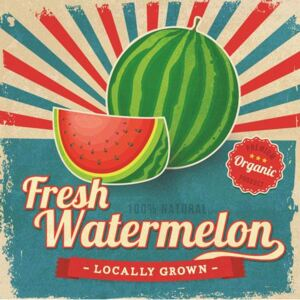 Retro tabula, rozmer 30 x 30 cm, Fresh Watermelon, IMPOL TRADE PT078T1
