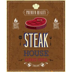 Retro tabula, rozmer 40 x 30 cm, Steak House, IMPOL TRADE PT070T2