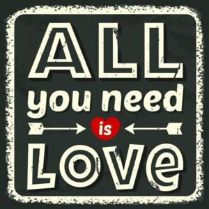 Retro tabula, rozmer 30 x 30 cm, All You Need is Love, IMPOL TRADE PT010T1