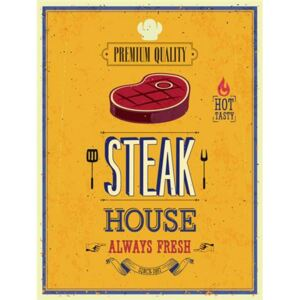 Retro tabula, rozmer 40 x 30 cm, Steak House, IMPOL TRADE PT008T2