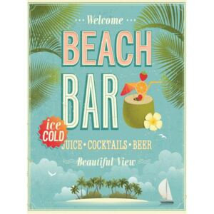 Retro tabula, rozmer 40 x 30 cm, Beach Bar, IMPOL TRADE PT075T2
