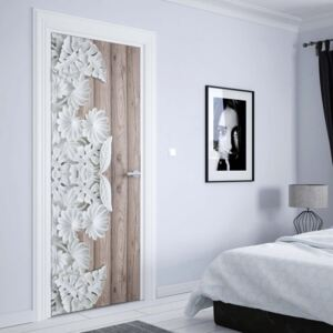 GLIX Fototapeta na dvere - Vintage Chic 3D Carved White Flowers Wood Plank Texture